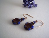 RESERVED for Ms. Bobette Conatser-handmade blue and burgundy flower earrings with copper
