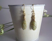 handmade green and brown tortoise picasso earring with gold - Earthen Love Earrings