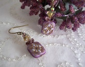 handmade purple blue and gold tablet bead earrings with crystal and brass - Cleopatra Earrings