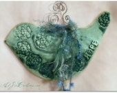 Bird of Hope - Hand-Built Clay Pottery Wall Plaque