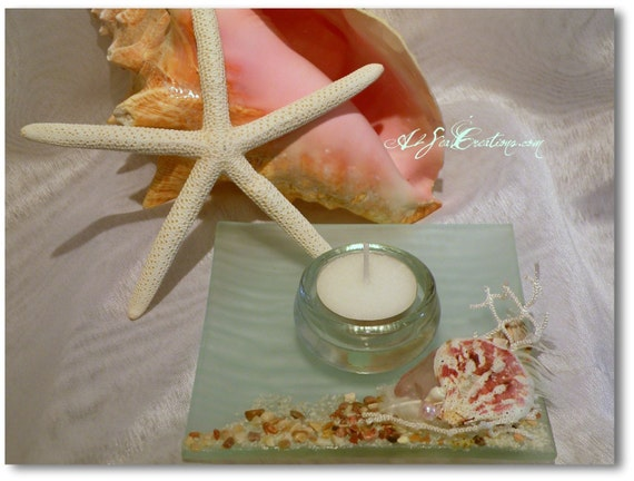 Seaside Tealight Glass Candle - Beach Wedding Favor or Decoration