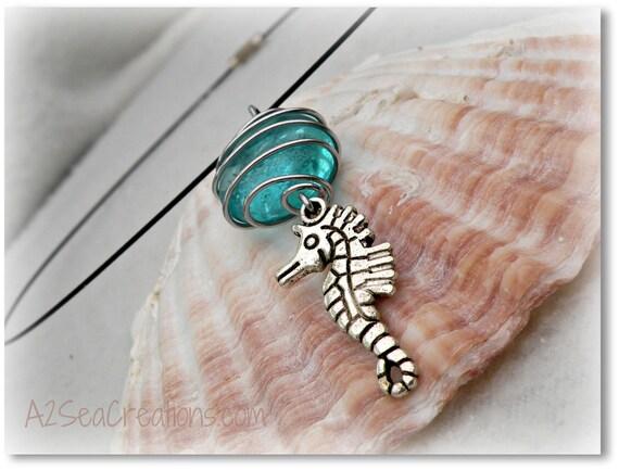 Seahorse and Aqua Glass Stone Beach Choker Pendant