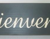 Bienvenue, Welcome, Fleur de lis, French, Country, Shabby Paris, Chic, Sign, Decor