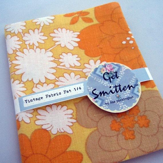 Orange and Yellow Retro Floral Vintage Fabric Fat Quarter