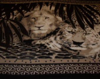Lion and Tiger Fleece Throw Blanket