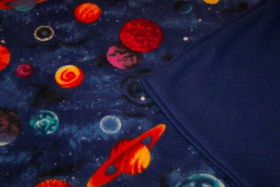 Planets and outer space fleece throw blanket for Outer space fleece