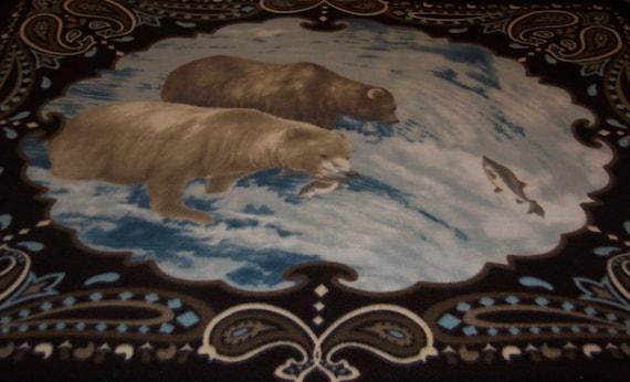 Salmon Fishing Bears  Fleece Throw Blanket