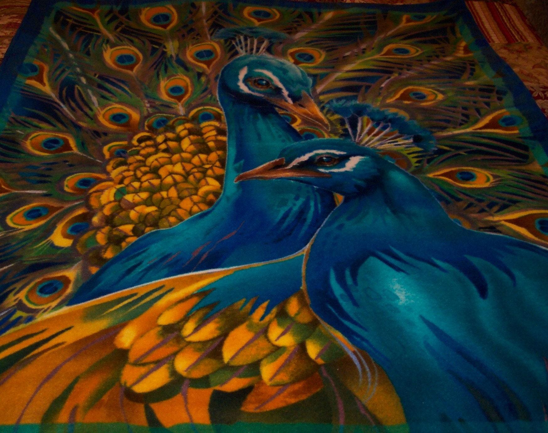 Peacock Fleece Throw Blanket By Mamaandpapadk On Etsy