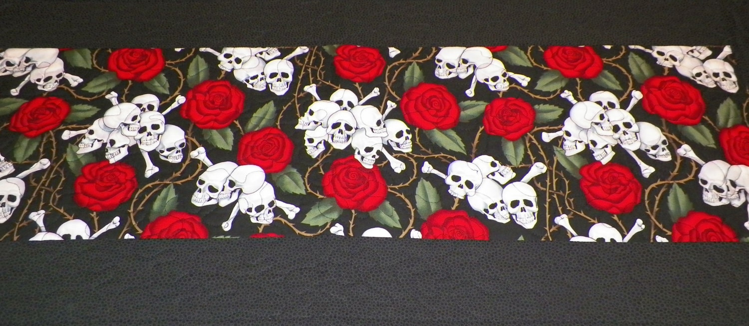 Skull And Crossbones And Roses Table Runner