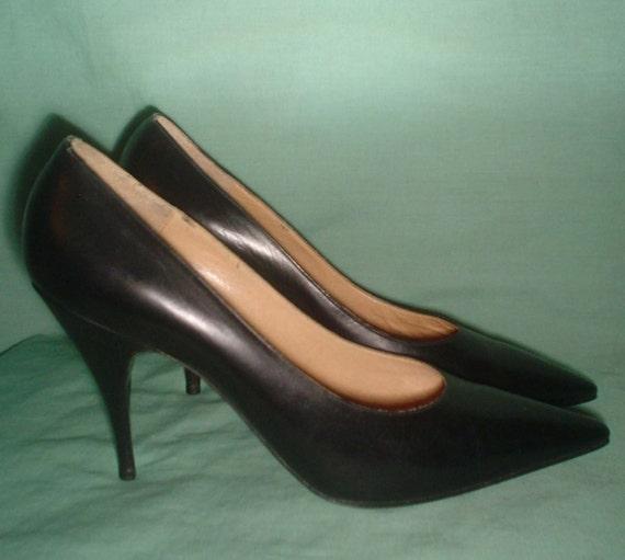SALE - vintage 1950s unworn deadstock Dolcis leather stiletto spike heel shoes UK 5.5 US 8.5