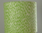 Handprinted Green Grass Lampshade-Modern clip-on or hanging lamp shade