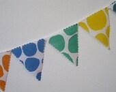Hand Printed Dot Garland- woodblock printed yellow green blue orange fabric- children's room