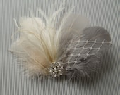 Wedding Bridal Hair Accessories Bride Feather Fascinator, Feather Hair Piece, ivory, grey, feather hair clip gray