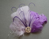 Lavender Feather Hair fascinator, purple feather hair clip, bridesmaid accessory hairpiece comb- Ready to Ship