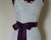 Wedding Sash Dress Sash Plain EGGPLANT AUBERGINE PURPLE Bridesmaid Belt sashes - 2 inch, Ready to Ship