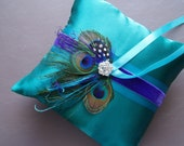 Peacock Ring Bearer Pillow TEAL PURPLE custom Feather modern
