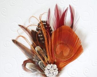 Fall Wedding Feather Fascinator Bridal Hair Clip peacock, bridesmaid hair piece, orange brown red autumn