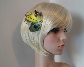 Yellow Peacock Hair Clip Wedding Hair Piece Feather Fascinator, bridesmaid hair piece READY TO SHIP
