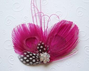 Bridesmaid Hair Clips Bridal Fascinator Wedding Hair Piece Pink Peacock Feather Comb hairpiece fascinators