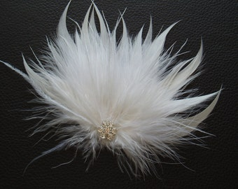 TENDER - White Feather Bridal Hair Clip, Wedding hair piece accessory w/ Rhinestone