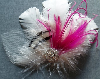Feather Bridal Hair Clip WEDDING FASCINATOR Ivory Raspberry Pink, bridesmaid hair piece
