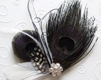 Black and White Wedding Hair Clip Peacock Feather Fascinator BRIDAL COMB Hairpiece with Rhinestone Jewel