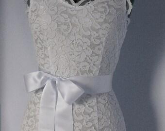 Bridal Sash Simple Wedding Dress Sash bridesmaid belts sashes belt - SWISS SATIN 2 inch Bridal White