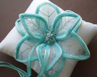 Ring Bearer Pillow wedding pillow modern wedding bridal custom white turquoise aqua READY TO SHIP
