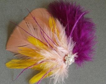 Wedding Feather Hair Clip Bridal Fascinator Bridesmaid Accessory purple yellow peach READY TO SHIP