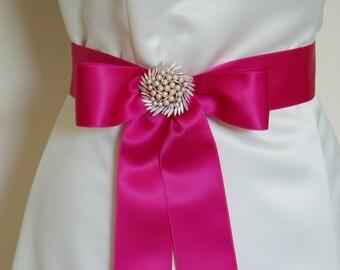 Fuschia Satin Sash Wedding Sash Bridesmaid Sashes Bow Belt Bridal HOT PINK fuchsia ribbon simple magenta - Swiss Satin 2 inch