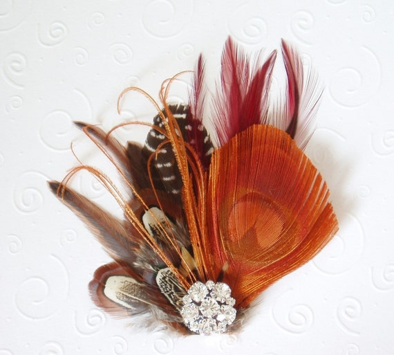 Fall Wedding Feather Fascinator Bridal Hair Clip peacock, bridesmaid hair piece, orange brown red autumn