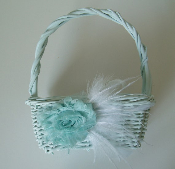 Small Wicker Flower Girl Basket - Aqua Teal with White Feathers flowergirl SALE SALE SALE