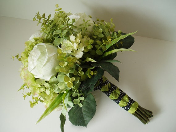 Lime Green Bridal Flowers : Chartreuse lime green wedding flower bouquet set pieces