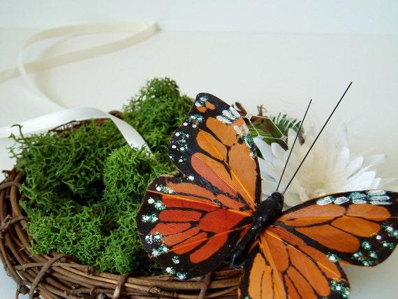 Pillow Alternative Butterfly Ring Bearer Nest Backyard Wedding Bridal Accessory moss nature woodland