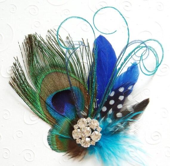 Peacock Wedding Ideas Etsy: Items Similar To Blue Peacock Feather Fascinator Wedding