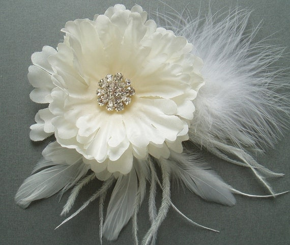 Ivory Wedding Hair Flower Silk Flower Hair Clip Hair Accessory Bridesmaid Head Piece Bridal Fascinator comb pin barrette
