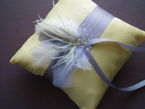 Bridal Ring Bearer Pillow Feather Wedding Yellow Grey Rhinestone gray