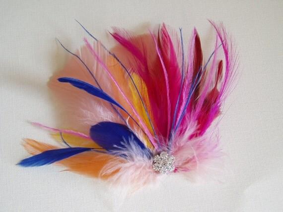 Feather Hair Clip, bridesmaid hair piece, BRIDAL Headpiece, Wedding Accessories, bridal shower, Pink Peach Yellow Blue