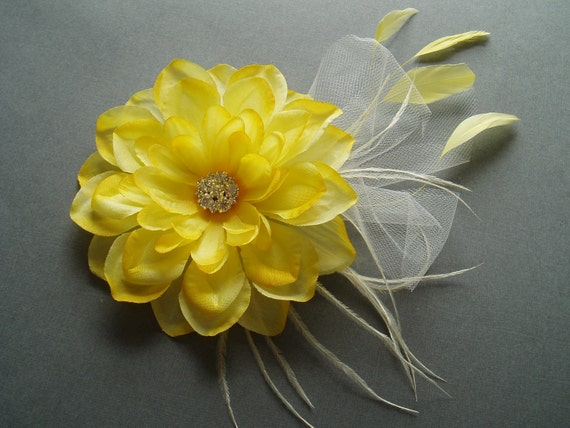 YELLOW WEDDING FLOWER Bridal Hair Piece Fascinator head piece Rhinestone hairpiece headpiece