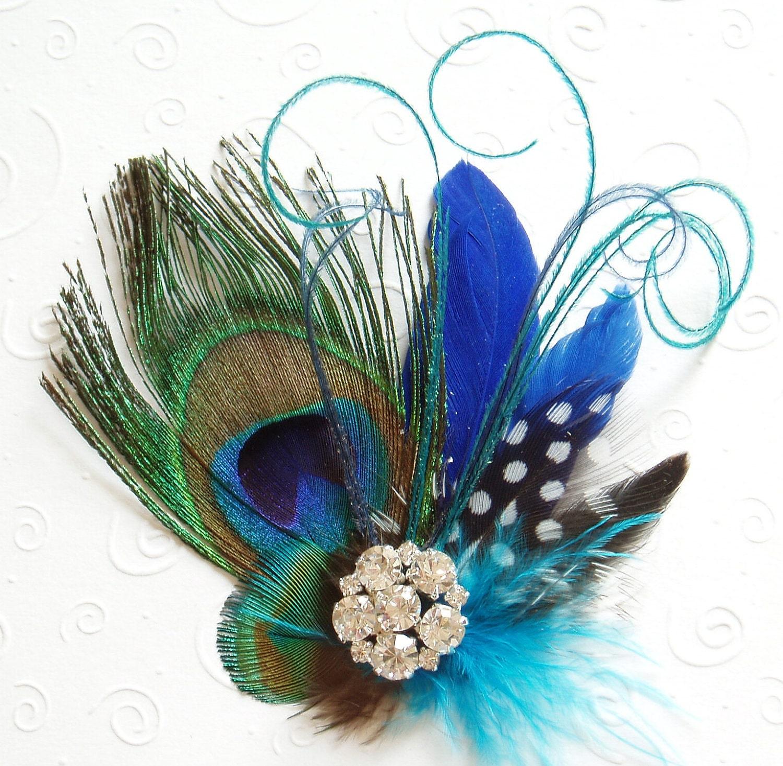 blue peacock feather fascinator wedding hair clip bridesmaid