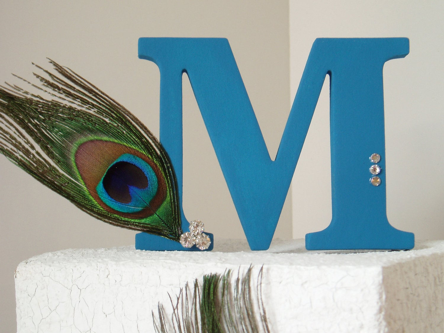 Wedding Cake Topper Monogram Peacock Decoration Accessories