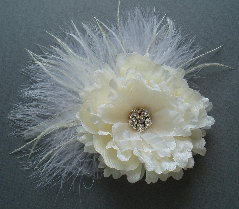 Ivory Flower Hair Clip Wedding: Ivory Wedding Hair Flower Clip Bridesmaid Head Piece BRIDAL
