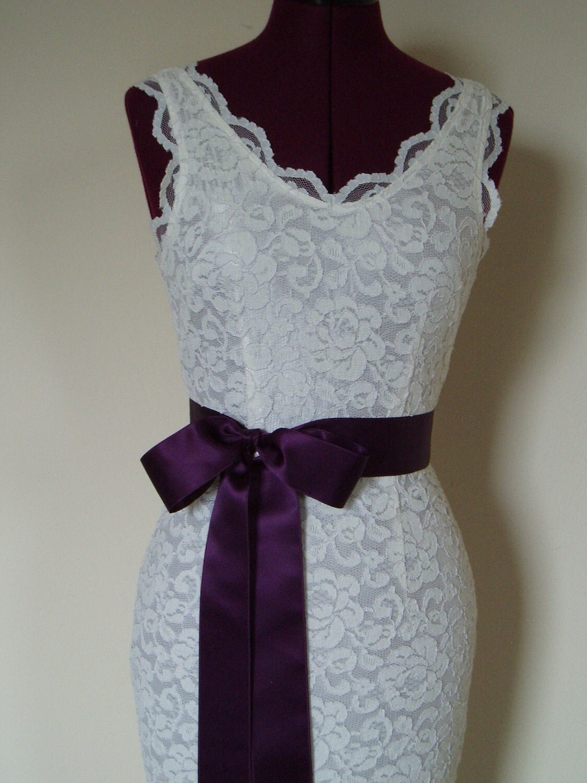 Wedding Sash Dress Sash Plain EGGPLANT AUBERGINE PURPLE