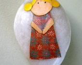 Little Girl with Yellow Hair and Brown Dress - Story Stone