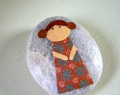 Little Girl with Brown Hair and Brown Dress - Story Stone