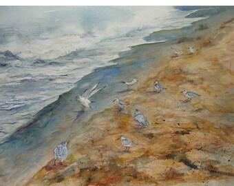"Surf ,Seagulls, Birds Gathering,Sienna Sandy Beach,Shoreline, Lakeshore,Lake Michigan, Watercolor Art 10 1/8""x 13 5/8"" by Janet Dosenberry"