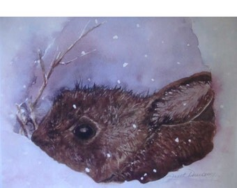 FREE SHIPPING,Bunny ,Note-cards, Winter, Snow, Snowy, Brown Rabbit, Christmas Cards, Blank Inside , Fine Watercolor Print, Janet Dosenberry