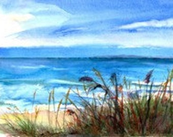 "Lake Michigan, Sienna Sandy Beach, Shoreline, Surf, Beach Grass, Turquoise, High-Quality Watercolor Giclee 12""x 16 1/4"" by Janet Dosenberry"