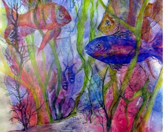 """Fish,Swimming,Living Coral Reefs, Coastal Water, Seafloor,Sealife,Ocean, Marine Life, High-Quality 11 1/2""""x13 1/4""""  by Janet Dosenberry"""