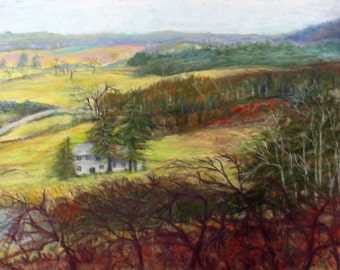 Arcadia Bluff, Mississippi River, Wisconsin, Landscape, Woodlands, House, Rolling Hills, Pastels Fine Art Original by Janet Dosenberry